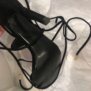 b43da1d0f38 Steve Madden President Black Suede Leg Wrap Heels